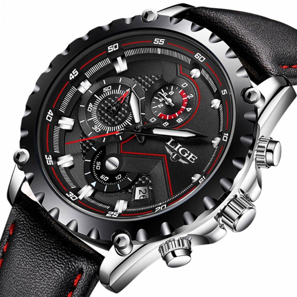 Mens Black Leather Wrist Watches Analog Quartz Chronograph Casual Auto Date Fashion Black Design by LIGE