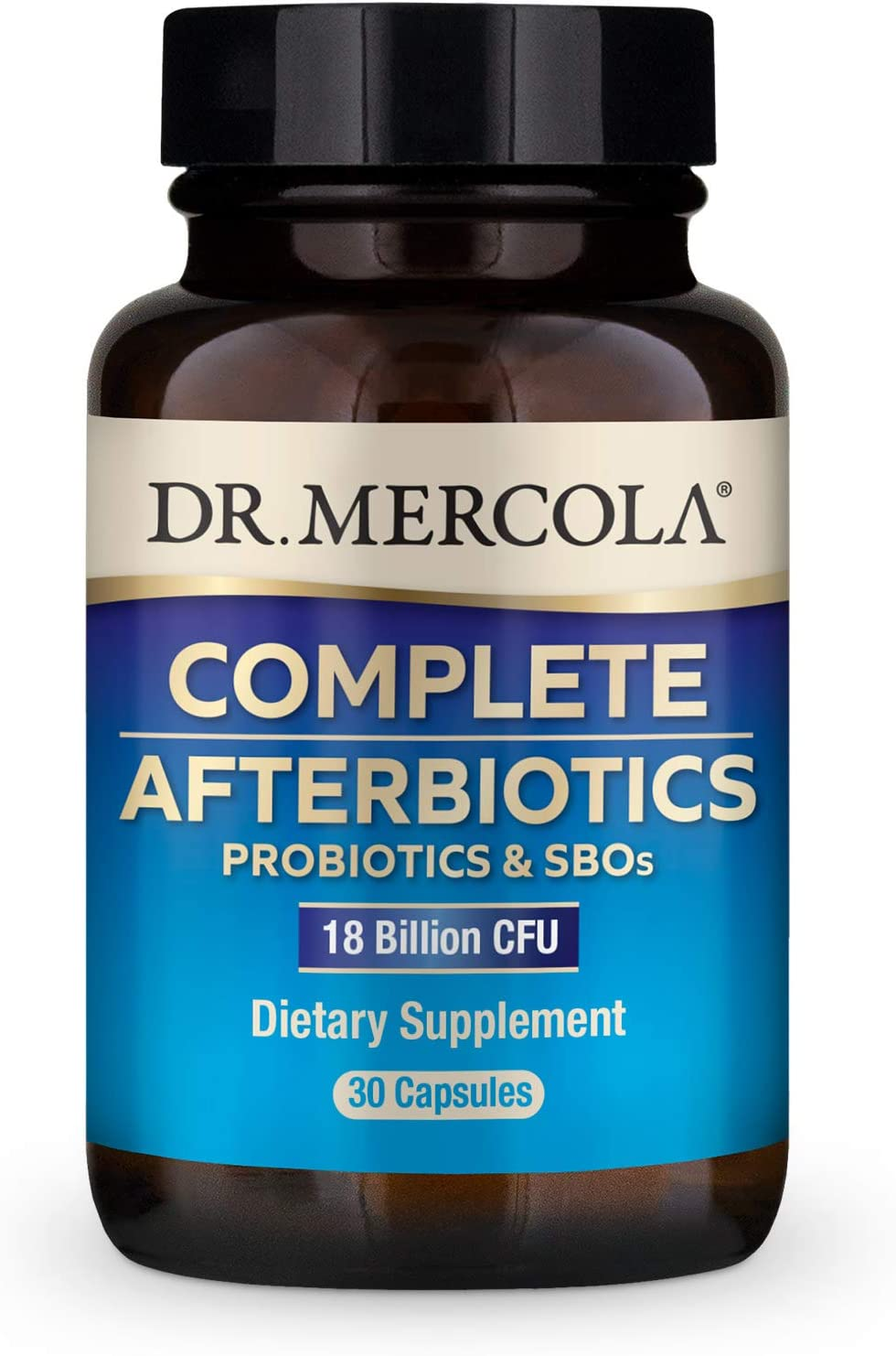Dr. Mercola Complete Afterbiotics Dietary Supplement (18 Billion CFU), 30 Capsules (30 Servings), Supports Gut Health*, Non GMO, Soy Free, Gluten Free