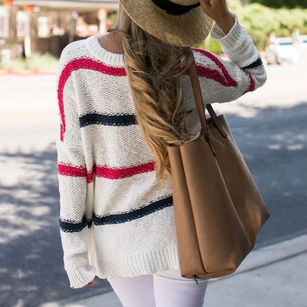 Womens Long Sleeve Fashion Blouse Stripe Knitting T-Shirt Blouse Tops Malbaba Autumn Women Sweater