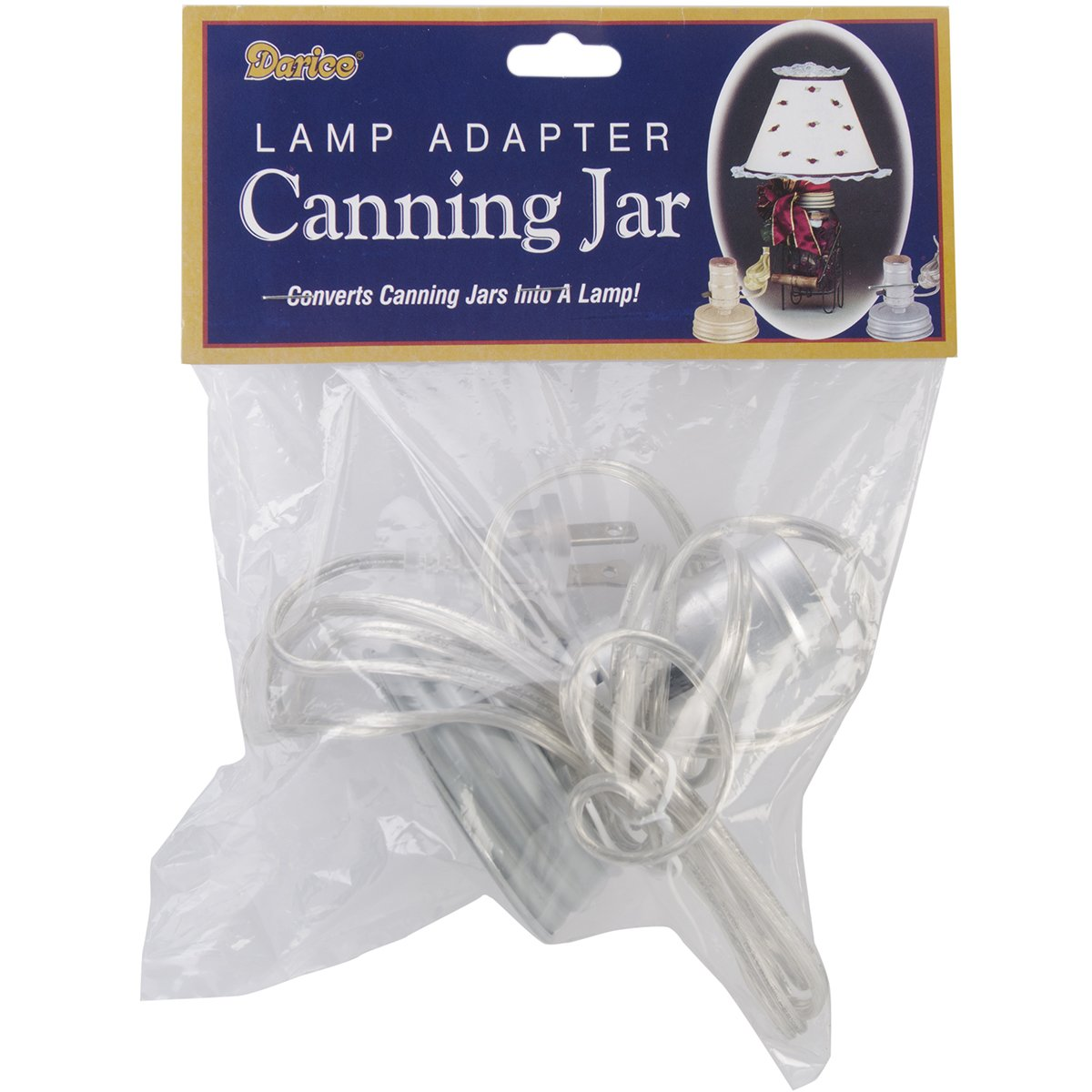 Amazon.com: Darice Canning Jar Lamp Adapter, Zinc/Small Mouth/Silver Cord:  Home U0026 Kitchen