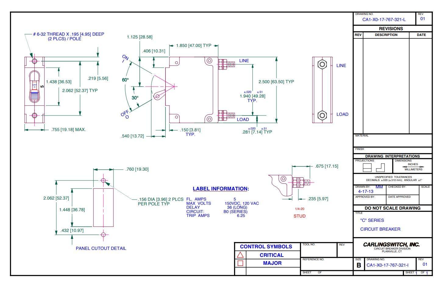 MIDNITE SOLAR MNEDC20 CIRCUIT BREAKER 20A 150VDC 1-POLE PANEL MOUNT