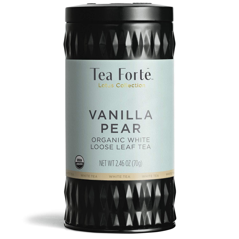 Tea Forte Lotus Organic White Tea Vanilla Pear, 2.46 Ounce Loose Leaf Tea Canister