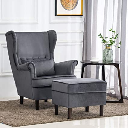 Fantastic Warmiehomy Velvet Wing Back Armchair Fireside Chair Sofa Pabps2019 Chair Design Images Pabps2019Com