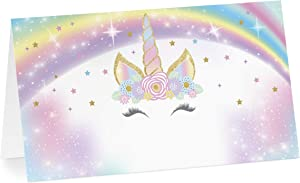 Your Main Event Prints Unicorn Birthday Tent Cards Food Labels for Buffet and Decorations, Perfect for Birthdays, Baby Showers, Unicorn Parties, Pack of 12