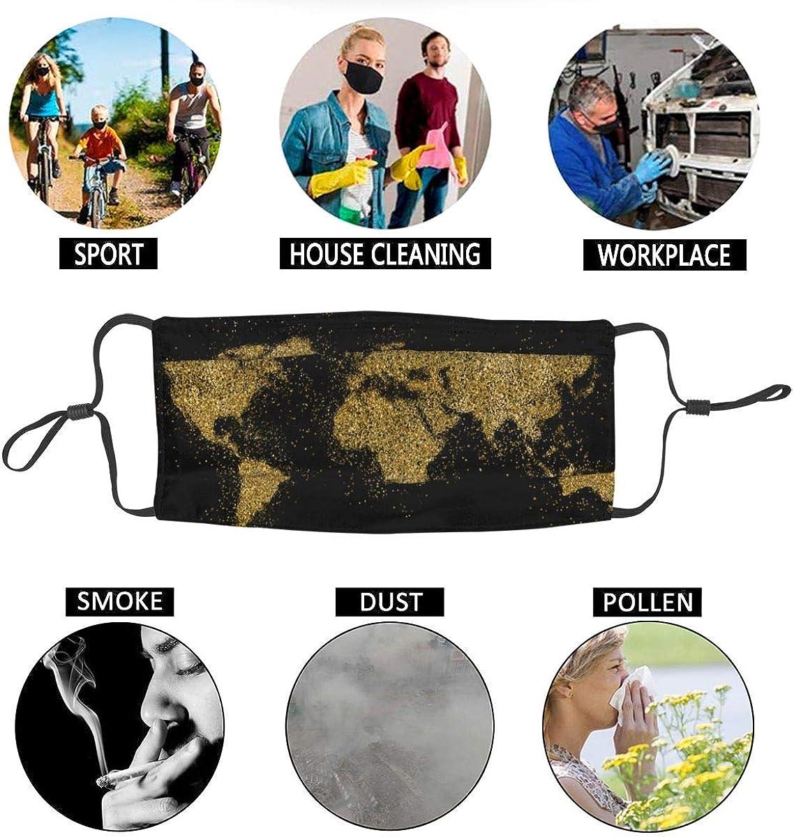 Waschbarer Mundschutz Anti-Staub-Gesichtsschutz,Weltf/örmiger goldener Glitzer auf Schwarz,Wiederverwendbar winddicht f/ür Outdoor-Ski Radfahren Camping Laufen