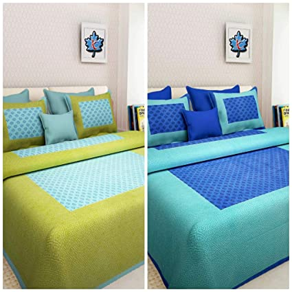 Suraaj Fashion Cotton Double Bedsheets with 4 Pillow Covers - Combo Set of 2 (Multicolour)