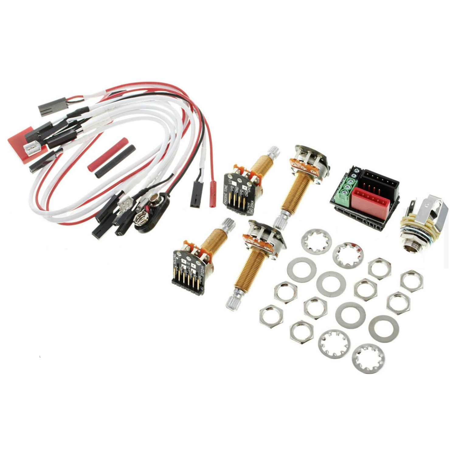 Amazon.com: EMG 1 - 2 Pickup Conversion Wiring Kit Solderless Long Shaft  (Les Paul) 19mm: Musical Instruments