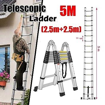 zusammenklappbare Mehrzweck-Leiter ausziehbare Stufen 5 m Teleskopleiter A Rahmen /& gerade Belastbarkeit 150 kg f/ür Innen- und Au/ßenbereich max