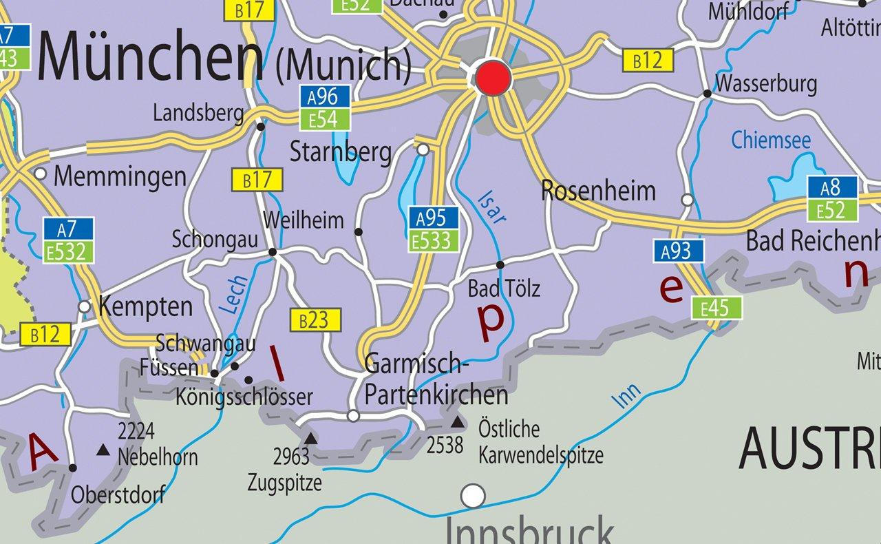 /A0/Gr/ö/ße 84.1/x 118.9/cm Deutschland Politische Karte/ /Papier laminiert/