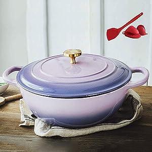 IUYJVR Casserole Casserole,26 cm Enamel Dutch Oven Enamel Cast Iron Casserole Dish with Two Handles and Lid Professional Enamel Cookware Crock Pot Casserole Dish