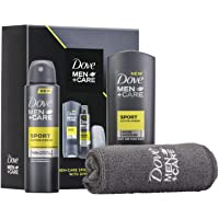 Dove Men +Care Sports Active Gym Set with Micro Towel, Sports Active Body Wash, Antipersprint Gift Set for Men
