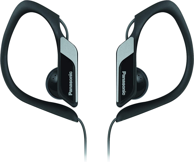 Panasonic RP-HS34E-K - Auriculares Deportivos (Con Clip, Uso cómodo y Ultraligero, Cancelación de Ruido, Ajustables, Deporte para Iphone y Android) Color Negro