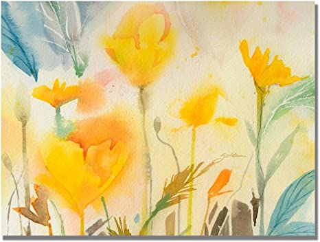 Amazon Com Yellow Poppies By Sheila Golden 18x24 Inches Canvas Wall Art Prints Posters Prints
