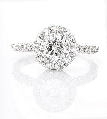 2 Carat Total Weight Round Natural Diamond En Ement Ring Set In 14k White Gold 4g