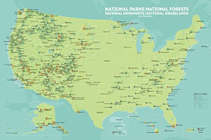 Map Of Usa Forests.Amazon Com Us National Parks Monuments Forests Map 24x36 Poster