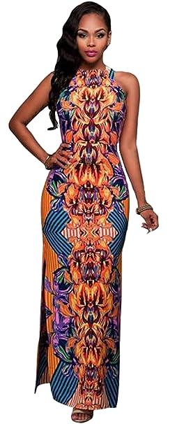 GLADTHINK Donne Estate Africano Culturale Stile Senza Maniche Vestito   Amazon.it  Abbigliamento e11f9dca282