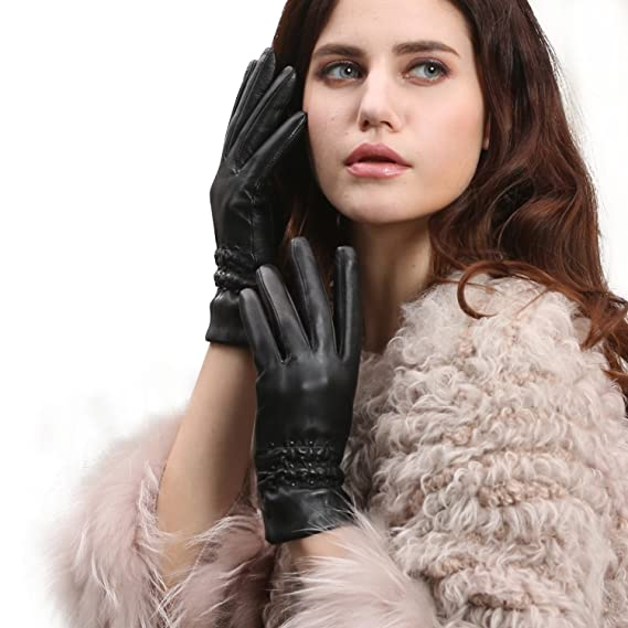 Ladies Black Real Genuine Leather Lined Gloves Womens Touchscreen Smart Driving