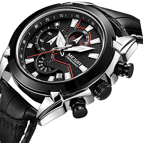 Amazon.com: Watch for Men Leather Chronograph with Black Strap Military Analog Quartz Sports Watches Waterproof Auto Date(Black): Health & Personal Care