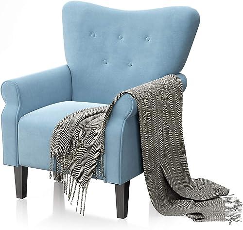 JustRoomy Modern Wingback Arm Chair Mid Century Velvet Tufted High Back Accent Chair Sofa - a good cheap living room chair