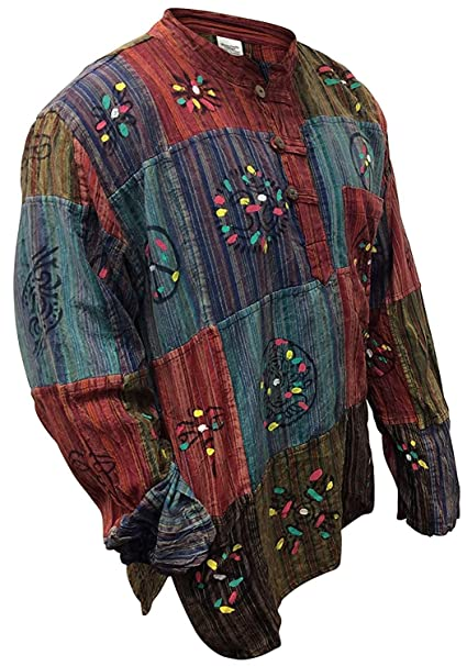 Hippie Dress | Long, Boho, Vintage, 70s  Mens Stripe Patchwork Grandad Shirt SHOPOHOLIC FASHION $29.99 AT vintagedancer.com