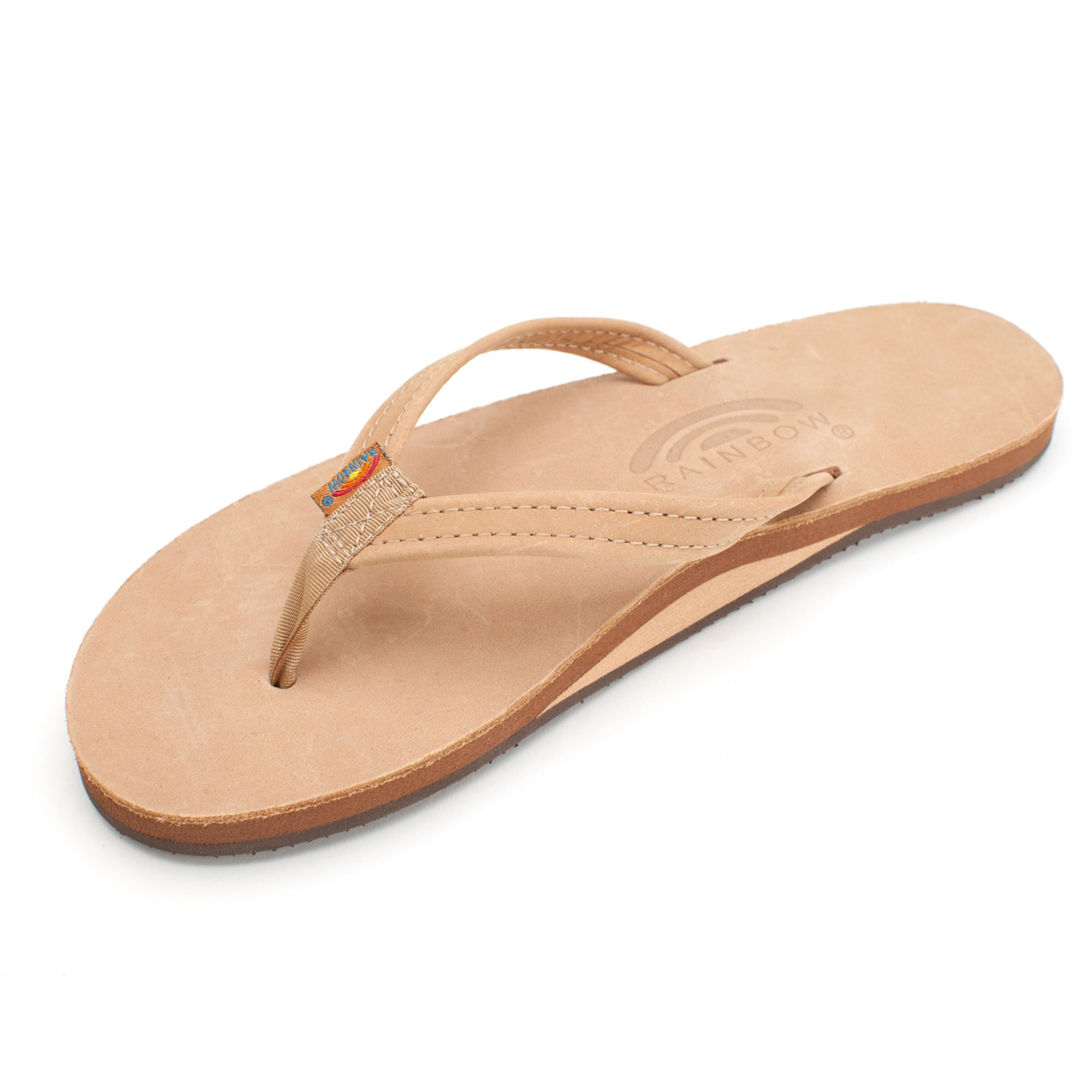 Rainbow Narrow Strap Single Layer Leather Sandal - Women's Premier Sierra Brown 10