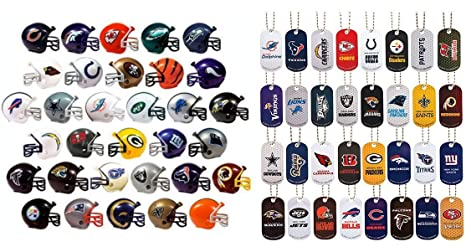 Amazon.com   Mini Nfl Football Helmets and Dog Tags Complete Sets of ... 35bebf6f9