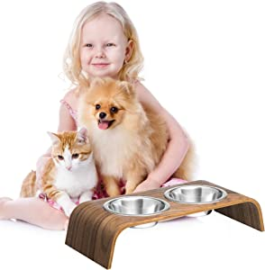 Wooden Elevated Stand for Cat's and Small Dog's Healthier Eating Posture with Bowls