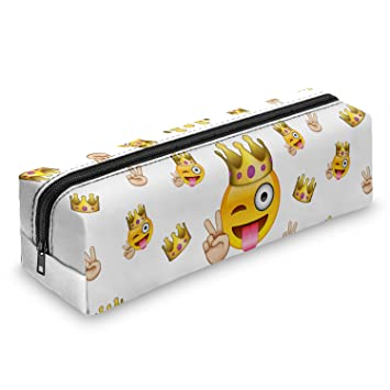 d5f375860a281 Pen Pencil Case Wallet Coins Pouch Travel Zipper Purse Fully Printed  Stationery School Office Organiser (Emoji King)  Amazon.co.uk  Office  Products