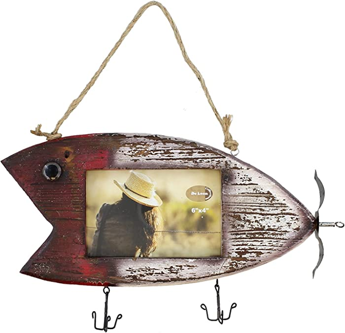 "Rustic Fishing Lure Barnwood Picture Frame 4"" X 6"" Photo"