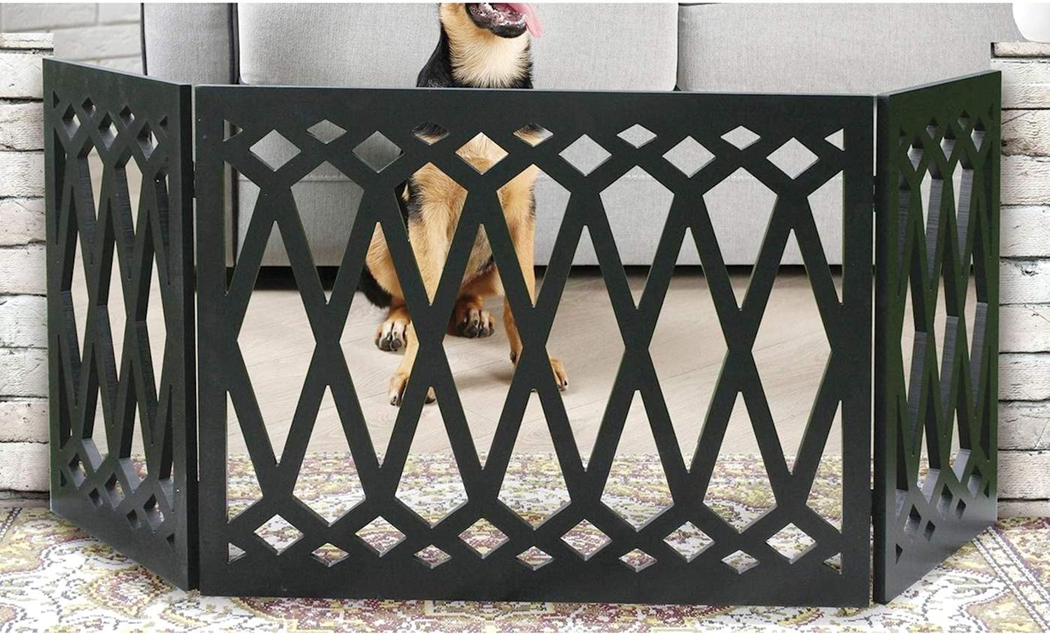 Indoor//Outdoor Pet Barrier Etna 3-Panel Diamond Design Wood Pet Gate Decorative Black Tri Fold Dog Fence for Doorways 24-48 Inches Wide x 19 Inches Tall Stairs