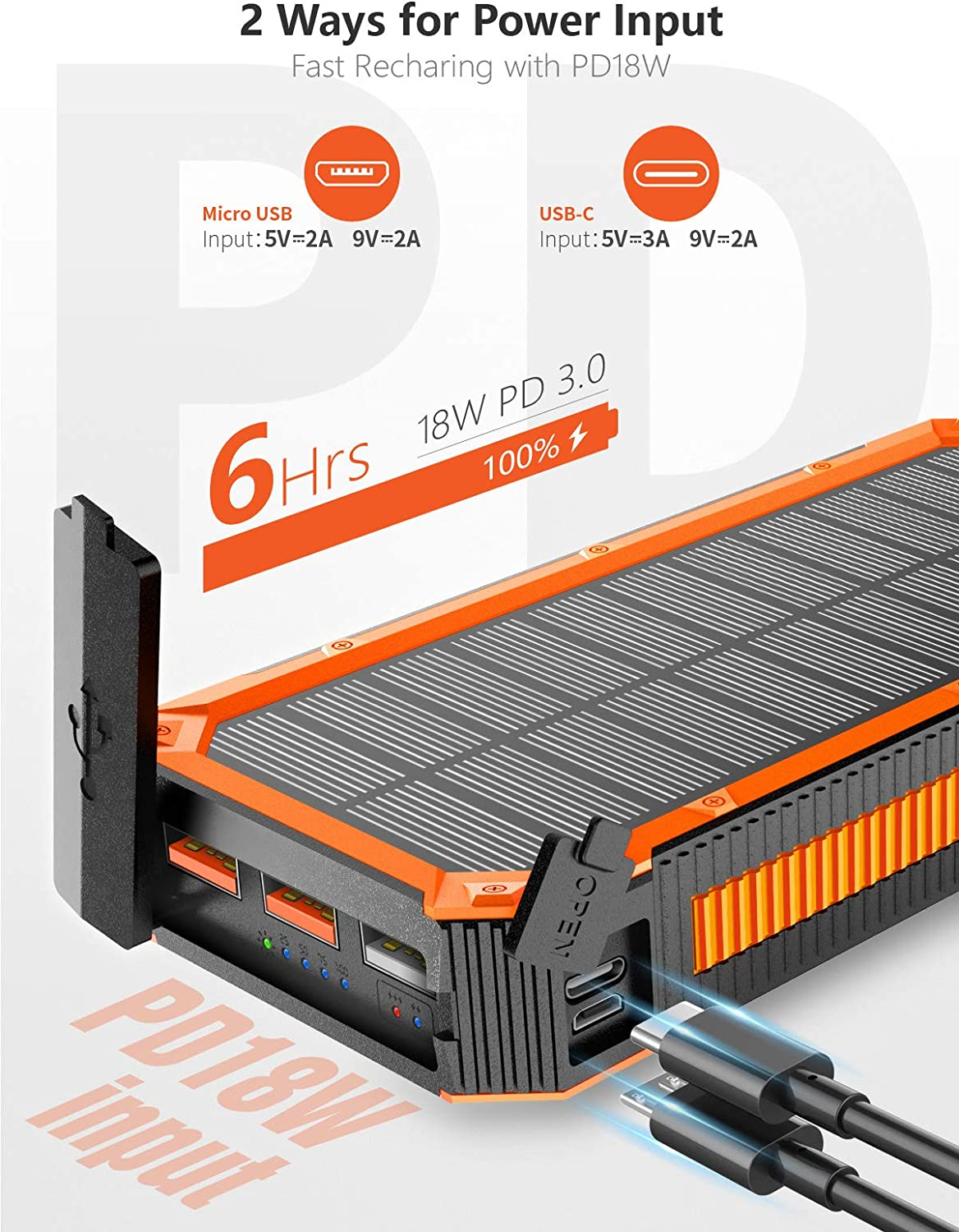 Solar Charger 30000mAh, Solar Power Bank, PD 18W Quick Charge with 4 Outputs & Dual Inputs, External Backup Battery Huge Capacity Phone Charger for iOS and Android(Orange)