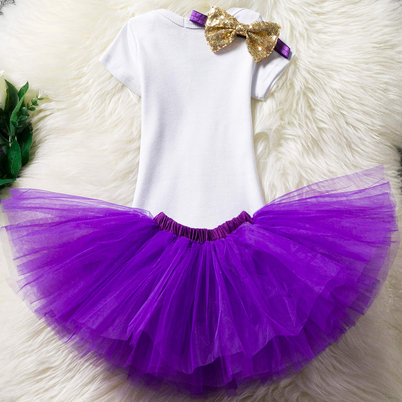 TTYAOVO Baby Girl 1st Birthday 3pcs Unicorn Outfits with Headband /& Romper /& Skirts