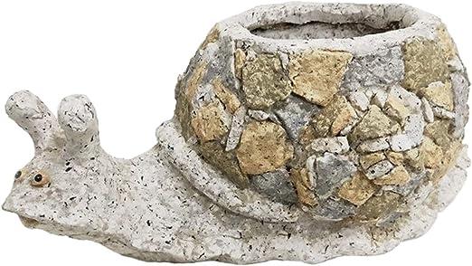 Rustiluz Macetero de jardín imitación Piedra con Forma de Caracol ...