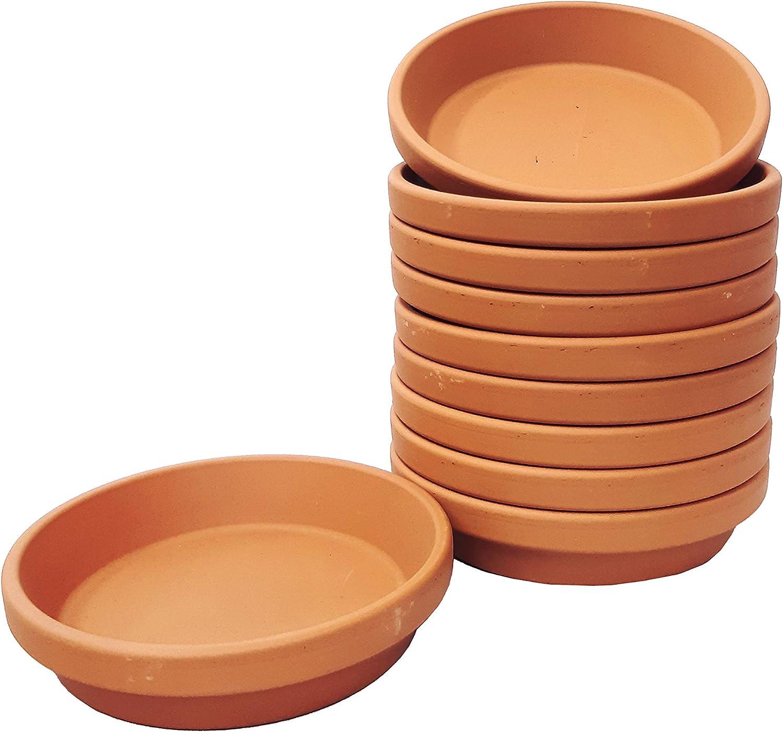 4.5 Internal Diameter 10 Pack 4.5 Internal Diameter Brown Clay Pottery Planter Saucers BFA Terracotta Pot Tray