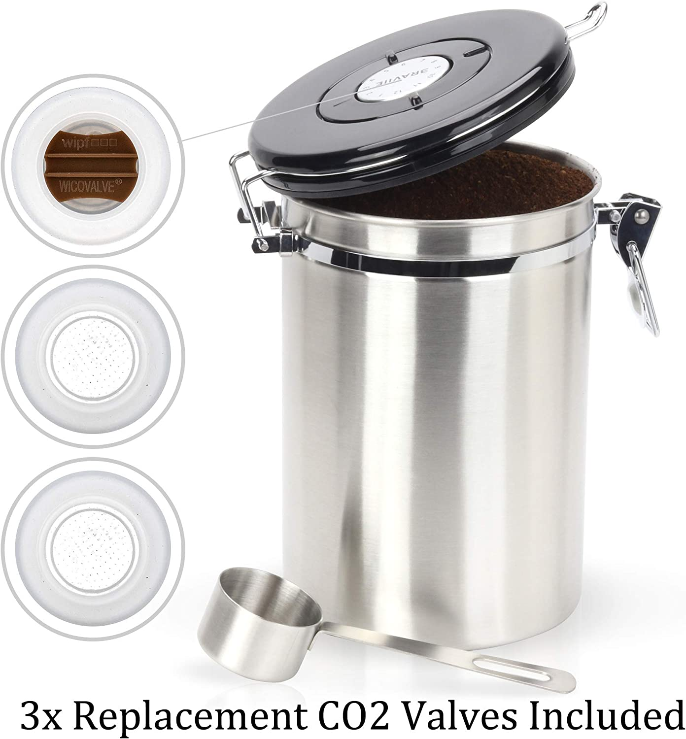 Coffee Canister Stainless Steel Large Airtight Storage Container w// Scoop Home