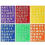 KING DO WAY Kit De 6 Pcs Pochoir De Lettre Alphabet Majuscules Minuscules Loisir Créatif En Plastique Pour Instruire Des Bébé Enfants Majuscule