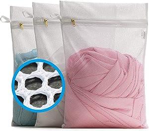 TENRAI 3 Pack (3 Medium) Delicates Laundry Bags, Socks Mesh Wash Bag for Underwear, Lingerie, Bra, Boxer, Sneaker, Gym Shoes, Use YKK Zipper, Have Hanger Loops (White, Big Mesh)