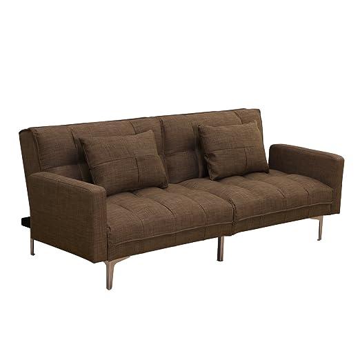 Amazonde Homcom Modern Minimal Stoff Sofa Bett Liege Cabrio Couch Grau
