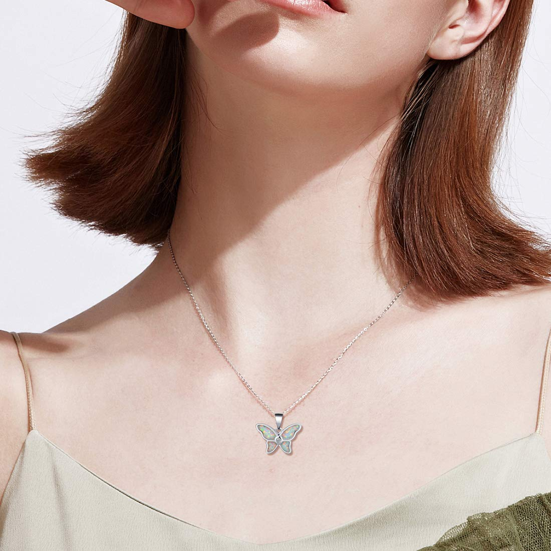 Sterling Silver Synthetic Blue Opal Stingray Necklace Pendant With 18 Box Chain