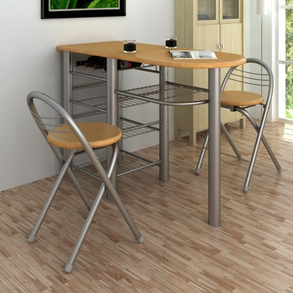 Anself Table Chairs Set Kitchen Breakfast Bar Set