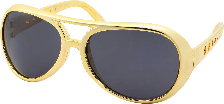 50's 60's Rock Star Sunglasses - Elvis Style Aviator Glasses - Mens Costume 71QziPWapgL