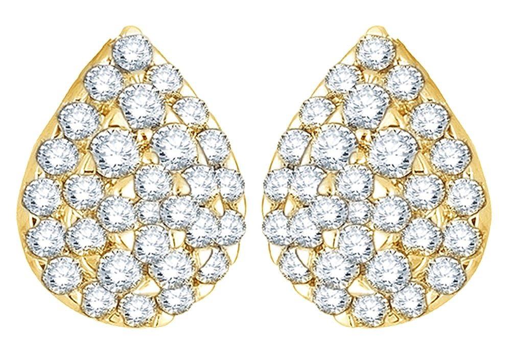 Weißszlig;, Tropfen-Ohrringe 14 Karat 585 Weißszlig;Gold Diamant (1 Karat Gesamtgewicht) 14 Karat (585) GelbGold