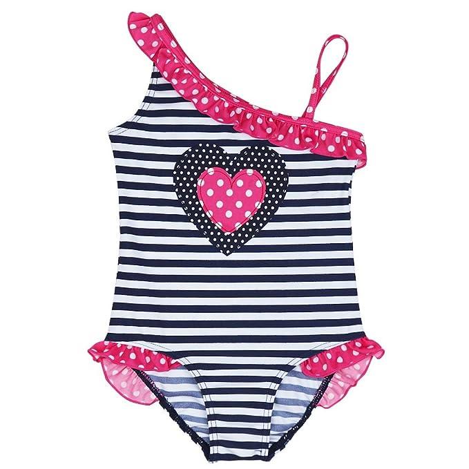 Outlet Store Verkauf größte Auswahl toller Wert iEFiEL Mädchen Kinder Badeanzug Bademode Einteiler Bikini Schwimmanzug  Streifen 92 98 110 116 128