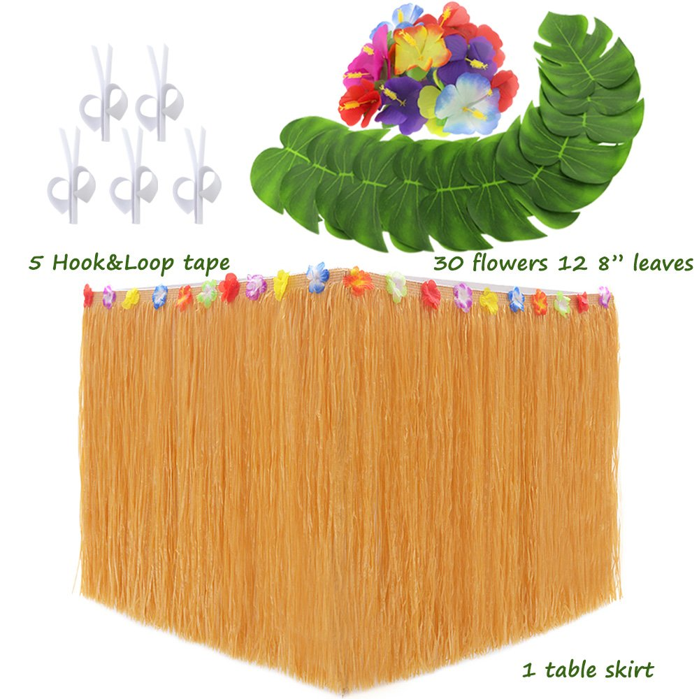 LoveS Hawaiian Luau Party Supplies Set, 1 Pack Yellow Hawaiian Grass Table Skirt, with 12pcs 8 Inches Tropical Palm Monstera Leaves and 30pcs Hibiscus Flowers (5pcs Adhesive Hook & Loop Tapes)