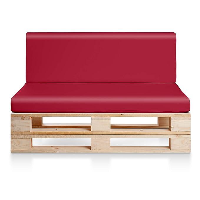 Sofa PALETS Madera para Jardin sin Barniz, Sillón Palet + colchonetas de Jardin, Cojines para pales de polipiel color Rojo. Palets Europeos con ...