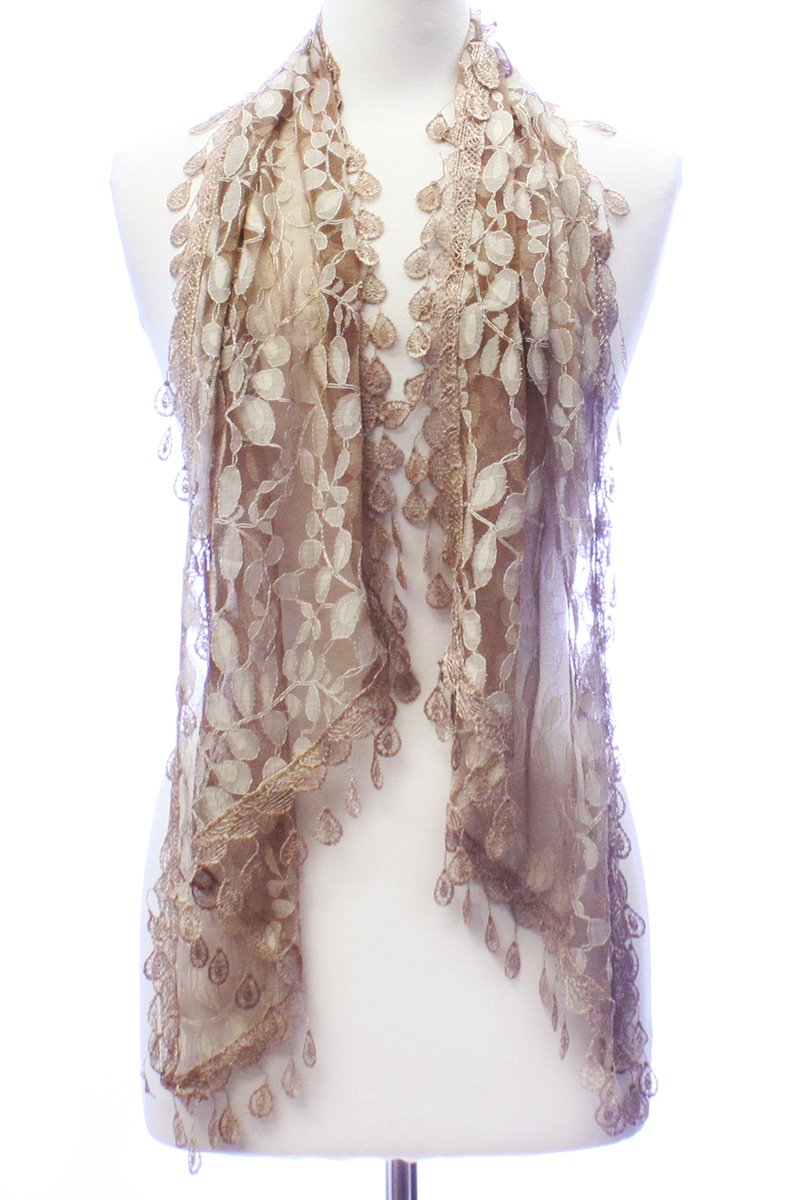 LL Womens Golden Brown Leaf Lace Scarf with Rain Drop Fringe Tassels by BSB (Image #2)