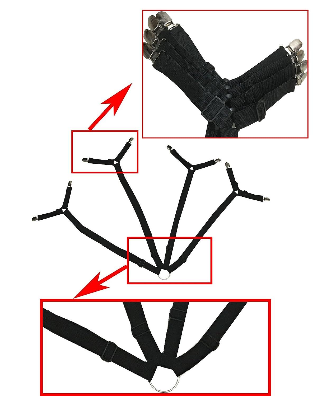 BSLINO 2pcs Long Crisscross Bed Sheet Band Straps Suspenders Grippers Adjustable Bed Sheet Corner Holder Elastic Straps Fasteners Clips Grippers Mattress Cover Sheet Bed Suspenders Clippers