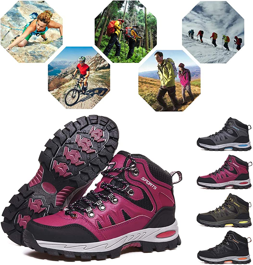 Rokiemen Trekking Hiking Boots Men Women High Rise Outdoor Sports Anti-Slip Ankle Walking Shoes Lace-up Travelling Backpacking,Camping,Biking