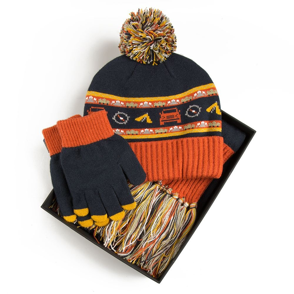 Boys Land Rover Hat, Scarf and Glove Set - Navy