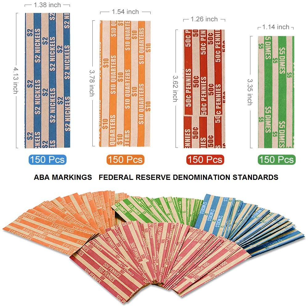 Coin Rolls Wrappers, 600 Assorted Flat Coin Wrappers - 150 of Each Quarters, Dimes, Nickels, Pennies, ABA Striped Kraft Paper Coin Roll Wrappers by Alritz (Image #2)